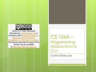 CS 106X – Programming Abstractions in C++