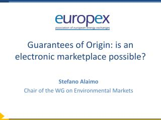Guarantees of Origin: is an electronic marketplace possible?