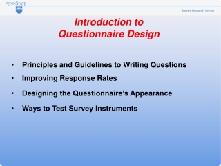 Introduction to Questionnaire Design