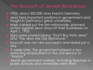 The Boycott of Jewish Businesses