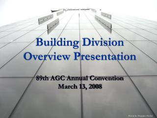 Building Division Overview Presentation