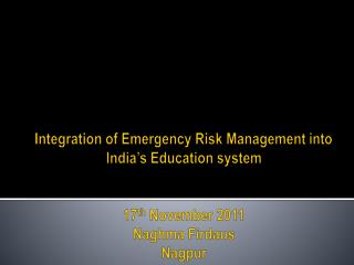 Emergency Risk Management….