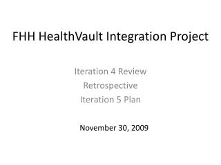 FHH HealthVault Integration Project