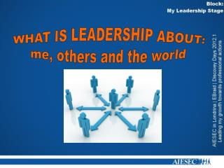 WHAT IS LEADERSHIP ABOUT: me, others and the world