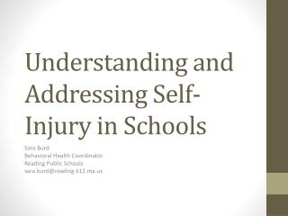 Understanding and Addressing Self-Injury in Schools