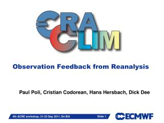 Observation Feedback from Reanalysis