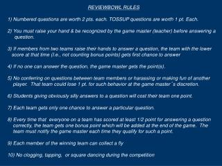 REVIEWBOWL RULES