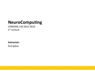 NeuroComputing CENG569, Fall 2012-2013 1 st  Lecture