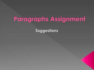 Paragraphs Assignment