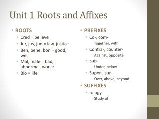 Unit 1 Roots and Affixes