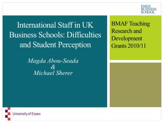 International Staff in UK Business Schools: Difficulties and Student Perception