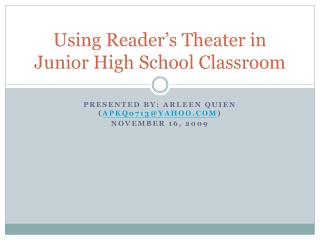 Using Reader's Theater in Junior High School Classroom