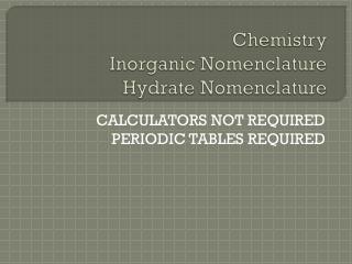 Chemistry Inorganic Nomenclature Hydrate Nomenclature