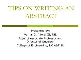 TIPS ON WRITING AN ABSTRACT