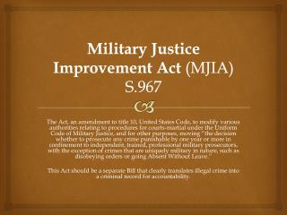 Military Justice Improvement Act  (MJIA) S.967