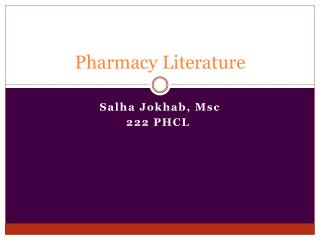 Pharmacy Literature