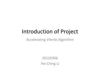 Introduction of  Project