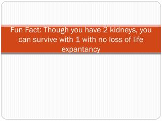 Fun Fact: Though you have 2 kidneys, you can survive with 1 with no loss of life expantancy