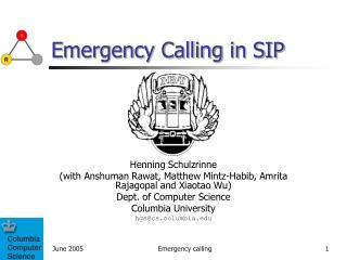Emergency Calling in SIP