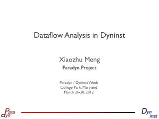 Dataflow Analysis in  Dyninst