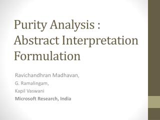 Purity Analysis :  Abstract Interpretation Formulation