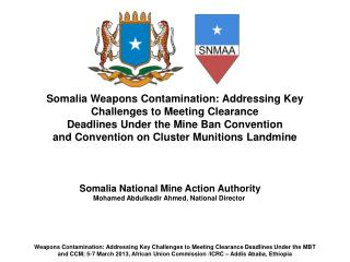Somalia  Weapons Contamination: Addressing Key Challenges to Meeting Clearance