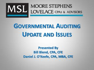 Governmental Auditing  Update and Issues