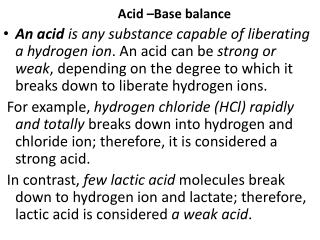 with reference to acid base balance explore