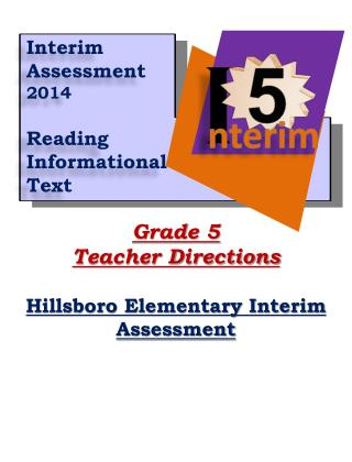 Grade  5 Teacher Directions Hillsboro Elementary Interim Assessment