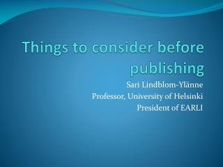 Things to consider before publishing