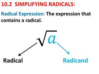 10.2 SIMPLIFYING RADICALS: