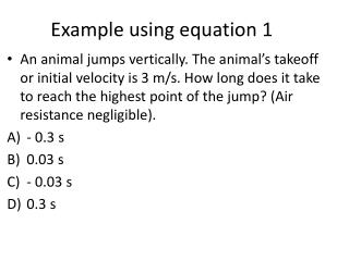 Example using equation 1
