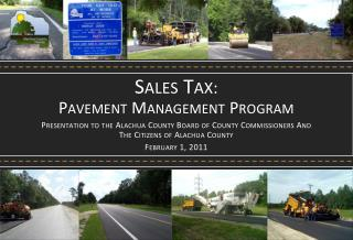 Sales Tax : Pavement  Management  Program