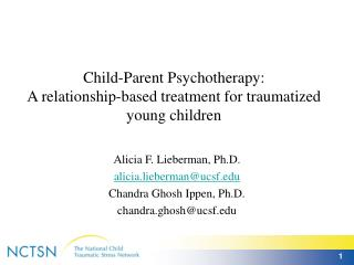 Child-Parent Psychotherapy:  A relationship-based treatment for traumatized young children
