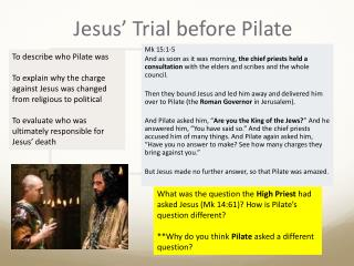 Jesus' Trial before Pilate