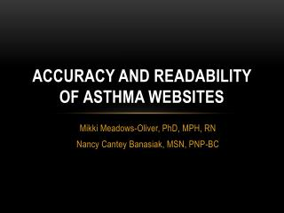 Accuracy and Readability of Asthma Websites