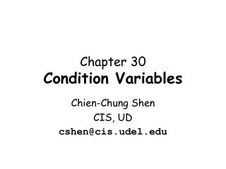 Chapter 30 Condition Variables