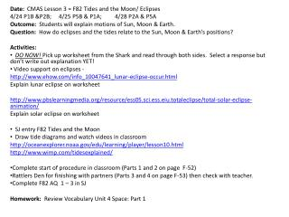 Date:   CMAS Lesson 3 = F82 Tides and the Moon/ Eclipses