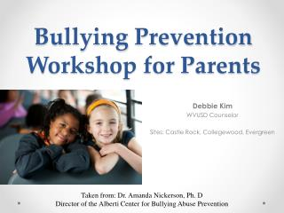 Bullying Prevention Workshop for Parents
