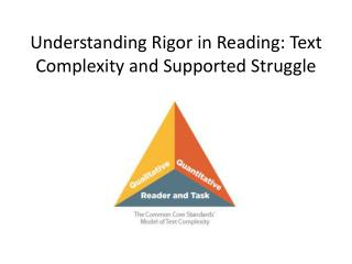 Understanding Rigor in Reading: Text Complexity and Supported Struggle