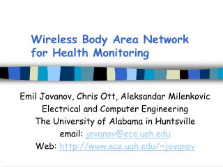 Wireless Body Area Network for Health Monitoring
