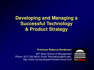 Developing and Managing a Successful Technology   Product Strategy