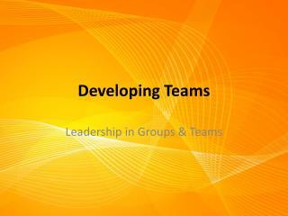 Developing Teams