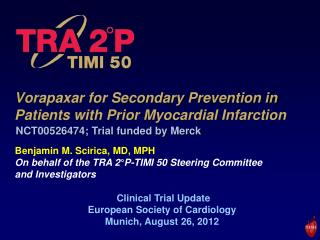 Vorapaxar for Secondary Prevention in Patients with Prior Myocardial Infarction