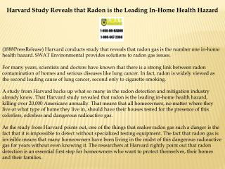 Harvard Study Reveals that Radon is the Leading In-Home Heal