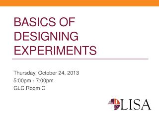 Basics of Designing Experiments