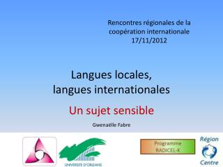 Langues locales, langues internationales
