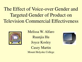 The Effect of Voice-over Gender and Targeted Gender of Product on Television Commercial Effectiveness