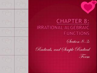 CHAPTER 8: Irrational algebraic functions