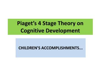 Piaget's 4 Stage Theory on Cognitive Development